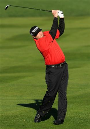 PEBBLE BEACH, CA - FEBRUARY 11:  Steve Marino plays his approach shot on the second hole during the second round of the AT&T Pebble Beach National Pro-Am at the Pebble Beach Golf Links on February 11, 2011  in Pebble Beach, California  (Photo by Stuart Franklin/Getty Images)