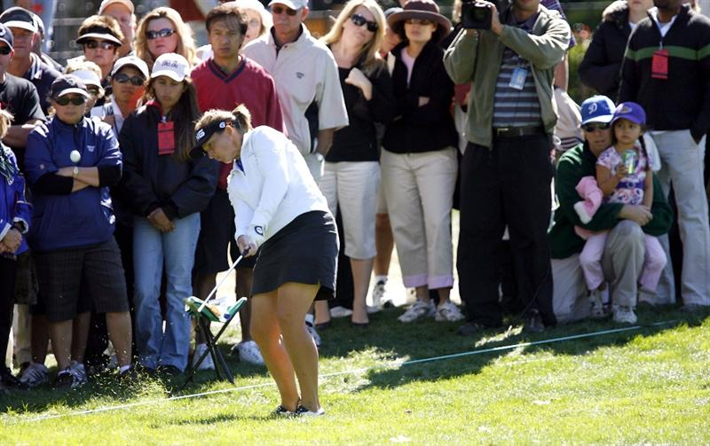 DANVILLE, CA - OCTOBER 12: Angela Stanford makes a chip shot on the 9th hole during the final round of the LPGA Longs Drugs Challenge at the Blackhawk Country Club October 12, 2008 in Danville, California. (Photo by Max Morse/Getty Images)