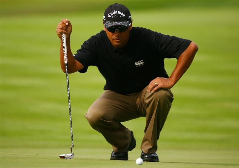 MALMO, SWEDEN - JULY 24:  Michael Campbell of New Zealand lines up a put on the 2nd green during Round Two of the SAS Masters at the Barseback Golf & Country Club on July 24, 2009 in Malmo, Sweden.  (Photo by Ian Walton/Getty Images)