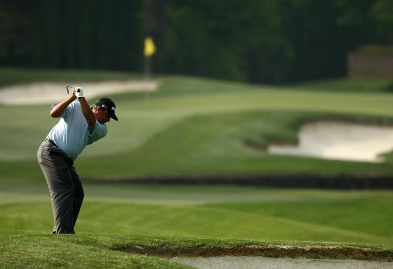 CHARLOTTE, NC - APRIL 30:  Angel Cabrera of Argentina plays into the 7th green during the first round of the Quail Hollow Championship at Quail Hollow Golf Club on April 30, 2009 in Charlotte, North Carolina.  (Photo by Richard Heathcote/Getty Images)