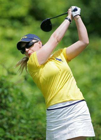 PITTSFORD, NY - JUNE 27: Morgan Pressel of the USA hits her drive on the second hole during the third round of the Wegmans LPGA at Locust Hill Country Club held on June 27, 2009 in Pittsford, NY. (Photo by Michael Cohen/Getty Images)
