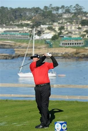 PEBBLE BEACH, CA - FEBRUARY 11:  Steve Marino plays his tee shot on the seventh hole during the second round of the AT&T Pebble Beach National Pro-Am at the Pebble Beach Golf Links on February 11, 2011  in Pebble Beach, California  (Photo by Stuart Franklin/Getty Images)
