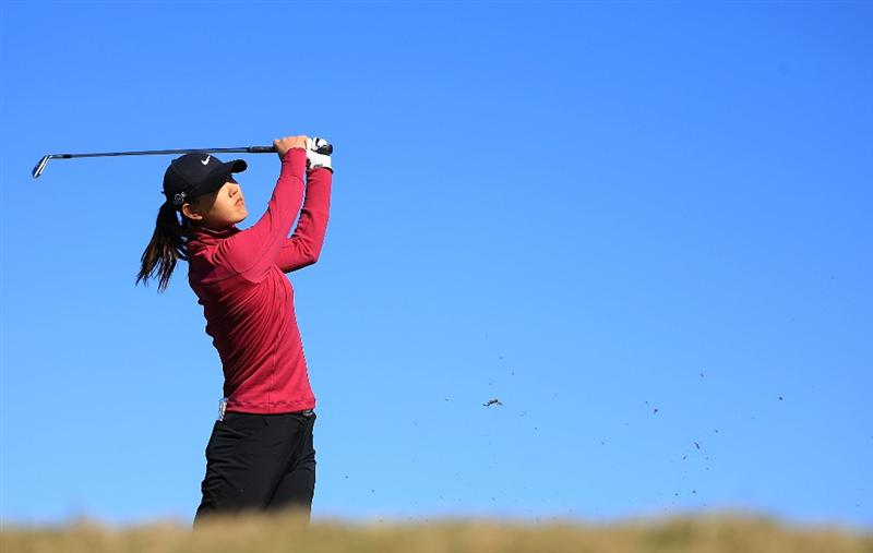 DAYTONA BEACH, FL - DECEMBER 07:  Michelle Wie hits her tee shot on the 14th hole during the final round of the LPGA Qualifying School at LPGA International on December 7, 2008 in Daytona Beach, Florida.  (Photo by Scott Halleran/Getty Images)