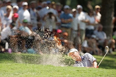 TULSA, OK - AUGUST 12:  Kevin Sutherland plays a bunker shot on the first hole during the final round of the 89th PGA Championship at the Southern Hills Country Club on August 12, 2007 in Tulsa, Oklahoma.  (Photo by Streeter Lecka/Getty Images)