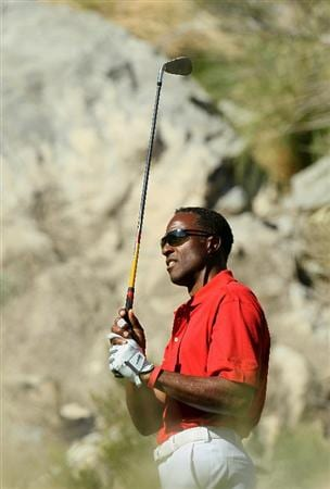 LA QUINTA, CA - JANUARY 21:  Former track star and NFL wide receiver Willie Gault hits his tee shot on the third hole during round three of the Bob Hope Classic at the Nicklaus Private Course at PGA West on January 21, 2011 in La Quinta, California. (Photo by Stephen Dunn/Getty Images)