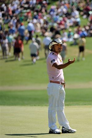 AUGUSTA, GA - APRIL 12:  Shingo Katayama of Japan reacts on the second hole during the final round of the 2009 Masters Tournament at Augusta National Golf Club on April 12, 2009 in Augusta, Georgia.  (Photo by Harry How/Getty Images)