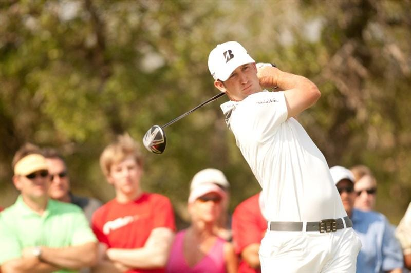 SAN ANTONIO, TX - APRIL 16: Kevin Chappell follows through on a tee shot during the third round of the Valero Texas Open at the AT&T Oaks Course at TPC San Antonio on April 16, 2011 in San Antonio, Texas. (Photo by Darren Carroll/Getty Images)