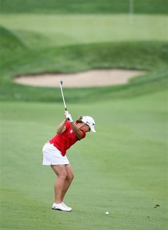 HAVRE DE GRACE, MD - JUNE 11:  Angela Stanford hits her second shot on the 14th hole during the first round of the McDonald's LPGA Championship at Bulle Rock Golf Course on June 11, 2009 in Havre de Grace, Maryland.  (Photo by Andy Lyons/Getty Images)