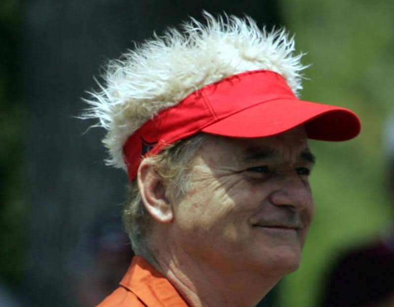 LUTZ, FL - APRIL 18:  Actor Bill Murray prepares to tee off on the first during the second round of the Outback Steakhouse Pro-Am at TPC Tampa Bay on April 18, 2009  in Lutz, Florida.  (Photo by Marc Serota/Getty Images)