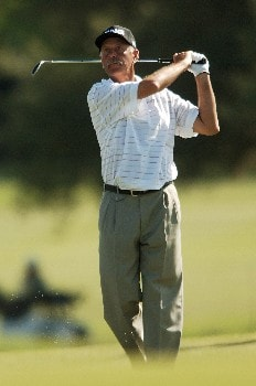Mark James hits from the 13th fairway during the final round of the 2005 FedEx Kinko's Classic at the Hills Country Club in Austin, Texas May 1, 2005.Photo by Steve Grayson/WireImage.com