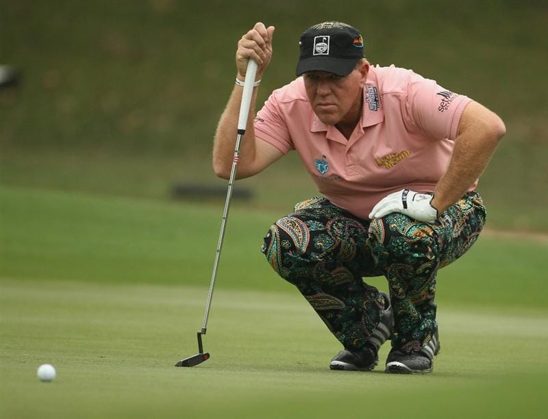 HONG KONG - NOVEMBER 18:  John Daly of the United States lines up a putt during day one of the UBS Hong Kong Open at The Hong Kong Golf Club on November 18, 2010 in Hong Kong, Hong Kong.  (Photo by Ian Walton/Getty Images)