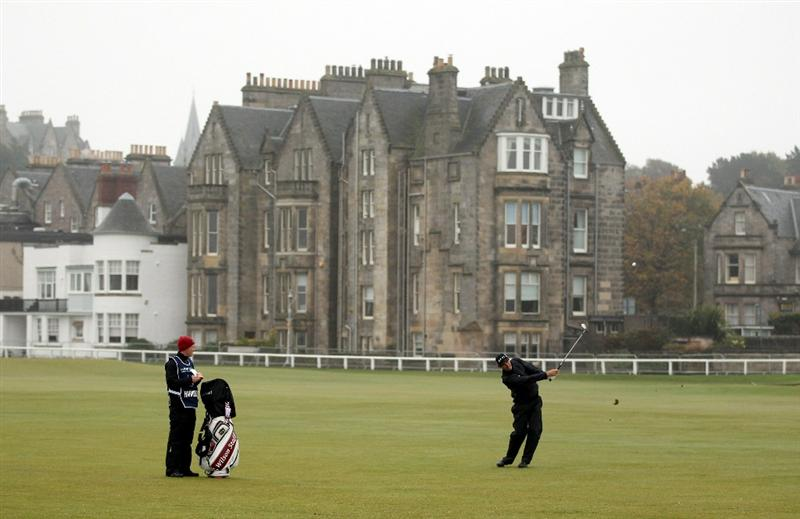 ST ANDREWS, SCOTLAND - OCTOBER 08:  Padraig Harrington of Ireland plays his second shot to the first green during the second round of The Alfred Dunhill Links Championship at The Old Course on October 8, 2010 in St Andrews, Scotland.  (Photo by Ross Kinnaird/Getty Images)