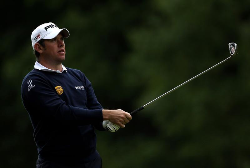 VIRGINIA WATER, ENGLAND - MAY 27:  Lee Westwood of England hits an approach shot during the second round of the BMW PGA Championship at the Wentworth Club on May 27, 2011 in Virginia Water, England.  (Photo by Warren Little/Getty Images)