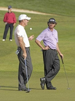 Peter Lonard and Mark Hensby of Australia during the first round of the 2005 Algarve World Cup at the Victoria Golf Club in Vilamoura, Portugal on November 17, 2005.Photo by Phil Inglis/WireImage.com