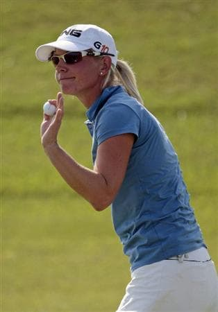 PRATTVILLE, AL - SEPTEMBER 28:   Louise Friberg of Sweden waves after making a par on the eleventh hole during final round play in the Navistar LPGA Classic at the Robert Trent Jones Golf Trail at Capitol Hill on September 28, 2008 in Prattville, Alabama.  (Photo by Dave Martin/Getty Images)