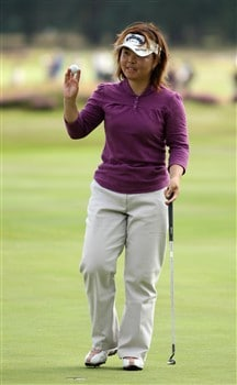 SUNNINGDALE, UNITED KINGDOM - AUGUST 01:  Yuri Fudoh of Japan acknowledges the crowd on the 16th green during the second round of the 2008 Ricoh Women's British Open held on the Old Course at Sunningdale Golf Club on August 1, 2008 in Sunningdale, England.  (Photo by Warren Little/Getty Images)