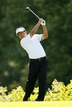 DUBLIN, OH - MAY 29: K.J. Choi of South Korea hits his tee shot on the 18th hole during the first round of the Memorial Tournament at Muirfield Village Golf Club May 29, 2008 in Dublin, Ohio. (Photo by Hunter Martin/Getty Images)