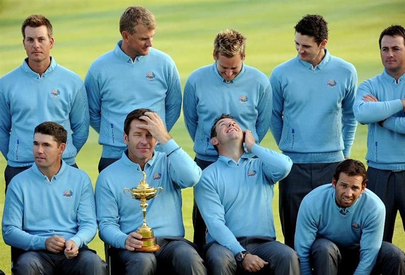 LOUISVILLE, KY - SEPTEMBER 16:  (L-R front row) Padraig Harrington, Nick Faldo (captain), Lee Westwood, Sergio Garcia (L-R back row) Henrik Stenson, Robert Karlsson, Ian Poulter, Justin Rose, Graeme McDowell and Jose Maria Olazabal (assistant captian) of the European team prepare to pose for the official team photograph prior to the start of the 2008 Ryder Cup at Valhalla Golf Club of September 16, 2008 in Louisville, Kentucky.  (Photo by Harry How/Getty Images)