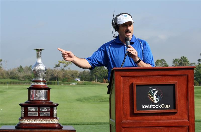 ORLANDO, FL - MARCH 16:  David Feherty of Northern Ireland at the opening ceremony during the first day of the 2009 Tavistock Cup at the Lake Nona Golf and Country Club, on March 16, 2009 in Orlando, Florida  (Photo by David Cannon/Getty Images)
