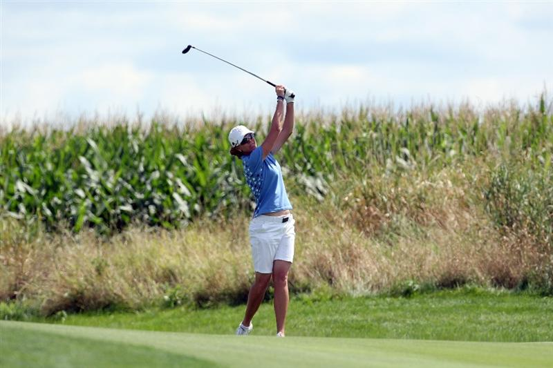 SUGAR GROVE, IL - AUGUST 23: Helen Alfredsson of Sweden on the 11th hole during the Sunday singles matches at the 2009 Solheim Cup Matches, at the Rich Harvest Farms Golf Club on August 23, 2009 in Sugar Grove, Ilinois (Photo by David Cannon/Getty Images)