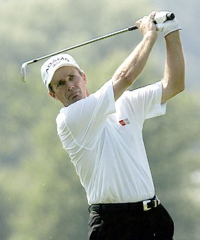 Jerry Pate of Pensacola, Florida, drives form the 18 fairway during the second round of the 2005 Bank of America Championship at Nashawtuc Country Club in Concord, Massachusetts, Saturday, June 25, 2005.  Pate finished tied for third with a score of 7-under-par 137.Photo by Jim Rogash/WireImage.com