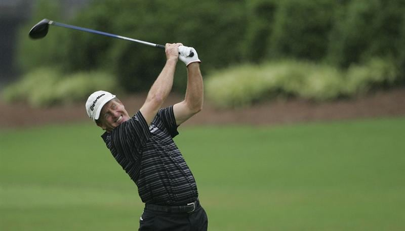 CARY, NC - SEPTEMBER 26:  Fred Funk hits a drive during the second round of the SAS Championship at Prestonwood Country Club held on September 26, 2009 in Cary,  North Carolina.  (Photo by Michael Cohen/Getty Images)