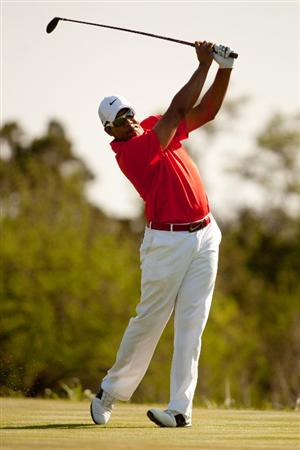 SAN ANTONIO, TX - APRIL 15: Jhonattan Vegas of Venezuela follows through on a tee shot during the second round of the Valero Texas Open at the AT&T Oaks Course at TPC San Antonio on April 15, 2011 in San Antonio, Texas. (Photo by Darren Carroll/Getty Images)