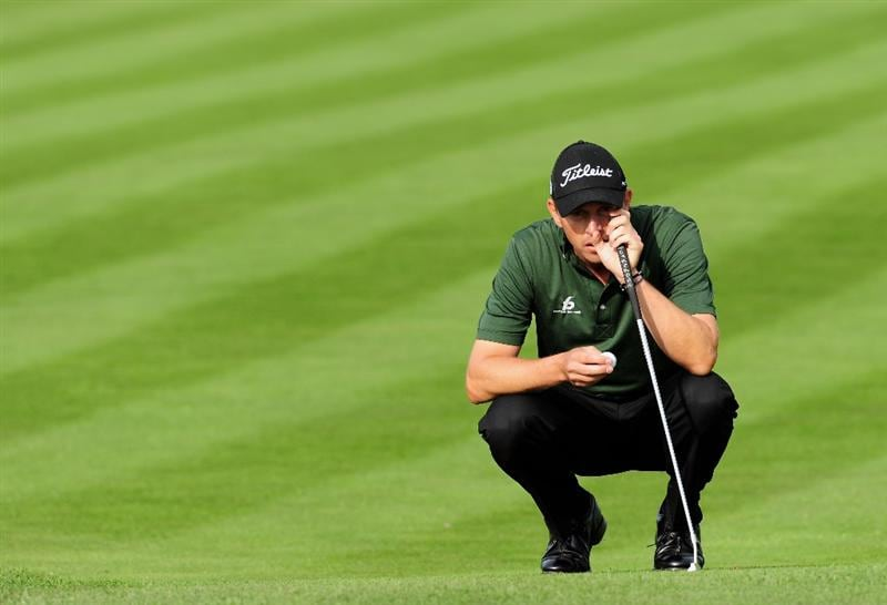 COLOGNE, GERMANY - SEPTEMBER 11:  Soren Hansen of Denmark ponders his putt on the 15th hole during the second round of The Mercedes-Benz Championship at The Gut Larchenhof Golf Club on September 11, 2009 in Cologne, Germany.  (Photo by Stuart Franklin/Getty Images)