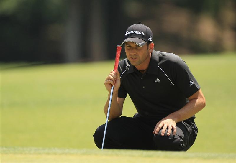 CHARLOTTE, NC - MAY 07:  Sergio Garcia of Spain lines up a putt on the third hole during the third round of the Wells Fargo Championship at the Quail Hollow Club on May 7, 2011 in Charlotte, North Carolina.  (Photo by Streeter Lecka/Getty Images)
