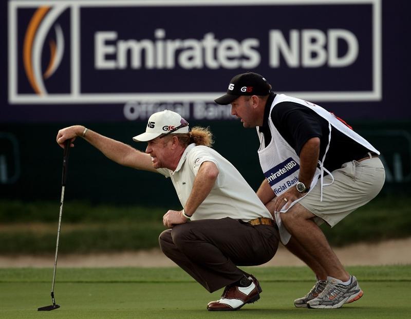 DUBAI, UNITED ARAB EMIRATES - FEBRUARY 07:  Miguel Angel Jimenez of Spain during the final round of the Omega Dubai Desert Classic on the Majlis Course at the Emirates Golf Club on February 7, 2010 in Dubai, United Arab Emirates.  (Photo by Ross Kinnaird/Getty Images)