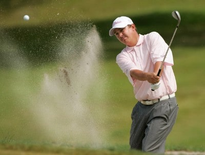 Jason Dufner hits out of a bunker at the 5th green during the third round of the Movistar Panama Championship held on January 26, 2008 at Club de Golf de Panama in Panama City, Panama. Nationwide Tour - 2008 Movistar Panama Championship - Round ThreePhoto by Stan Badz/PGA TOUR/Getty Images