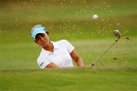 SUNNINGDALE, UNITED KINGDOM - AUGUST 03:  Ai Miyazto of Japan plays out of the 18th greenside bunker during the final round of the 2008 Ricoh Women's British Open held on the Old Course at Sunningdale Golf Club on Ausgust 3, 2008 in Sunningdale, England.  (Photo by Warren Little/Getty Images)