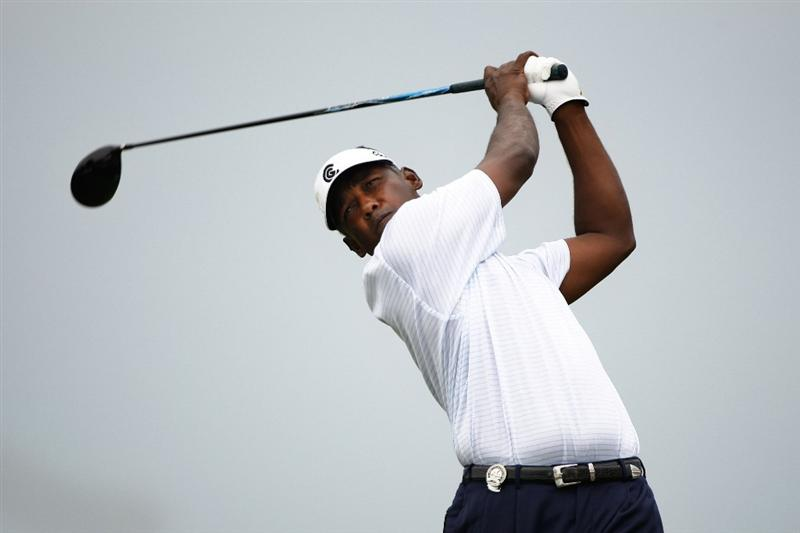 CHASKA, MN - AUGUST 15:  Vijay Singh of Fiji hits his tee shot on the first hole during the third round of the 91st PGA Championship at Hazeltine National Golf Club on August 15, 2009 in Chaska, Minnesota.  (Photo by Streeter Lecka/Getty Images)