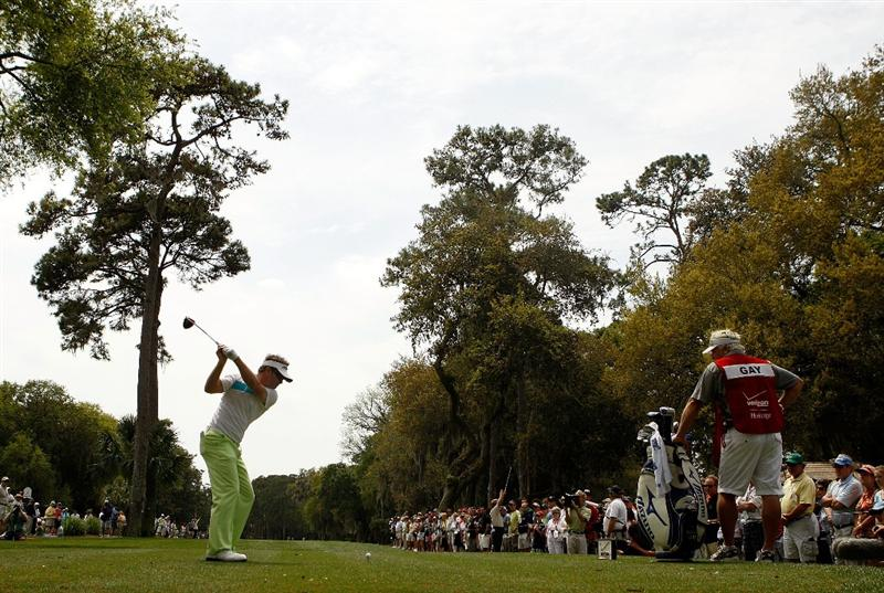 HILTON HEAD ISLAND, SC - APRIL 19:  Brian Gay hits his tee shot on the 3rd hole during the final round of the Verizon Heritage at Harbour Town Golf Links on April 19, 2009 in Hilton Head Island, South Carolina.  (Photo by Streeter Lecka/Getty Images)