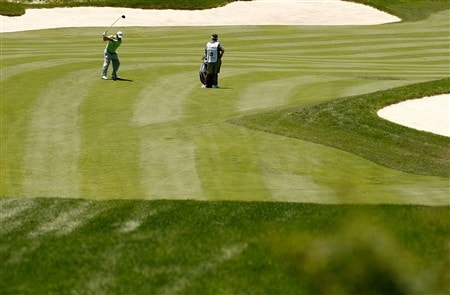 SILVIS, IL - JULY 13:  Tim Clark plays his second shot from the second fairway during the final round of the 2008 John Deere Classic at TPC at Deere Run on Sunday, July 13, 2008 in Silvis, Illinois.  (Photo by Kevin C. Cox/Getty Images)