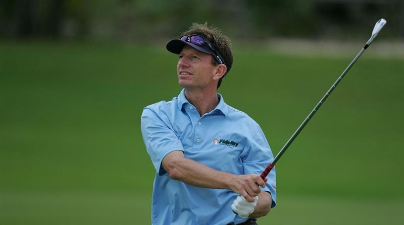 RIVIERA MAYA, MEXICO - FEBRUARY 18:  Brad Faxon watches his shot during the first round of the Mayakoba Golf Classic at El Camaleon Golf Club held on February 18, 2010 in Riviera Maya, Mexico.  (Photo by Michael Cohen/Getty Images)