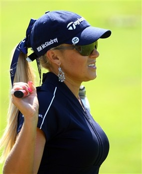EVIAN, FRANCE - JULY 26:  Natalie Gulbis of USA stretches on the fourth hole during the third round of the Evian Masters at the Evian Masters Golf Club on July 26, 2008 in Evian, France.  (Photo by Andrew Redington/Getty Images)