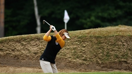 SUNNINGDALE, UNITED KINGDOM - JULY 31:  Yuri Fudoh of Japan plays out of the fairway bunker on the ninth hole during the first round of the 2008 Ricoh Women's British Open held on the Old Course at Sunningdale Golf Club on July 31, 2008 in Sunningdale, England.  (Photo by Warren Little/Getty Images)