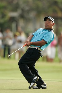 Tadd Fujikawa  reacts to his missed putt at the first hole during the first round at the Sony Open in Hawaii held at Waialae Country Club on January 10, 2008 in Honolulu, Hawaii. PGA TOUR - 2008 Sony Open in Hawaii - First RoundPhoto by Stan Badz/PGA TOUR/WireImage.com