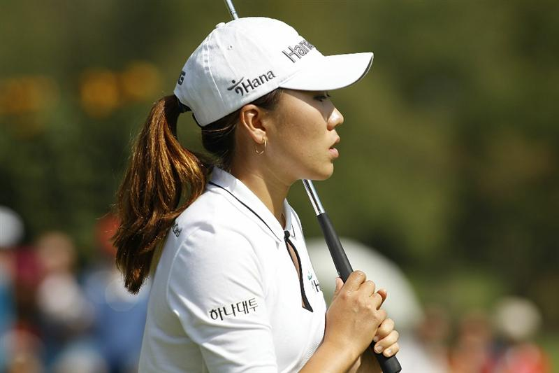 GUADALAJARA, MEXICO - NOVEMBER 14:  In-Kyung Kim of South Korea reacts to her missed birdie putt on the second green during the final round of the Lorena Ochoa Invitational Presented by Banamex and Corona Light at Guadalajara Country Club on November 14, 2010 in Guadalajara, Mexico.  (Photo by Michael Cohen/Getty Images)