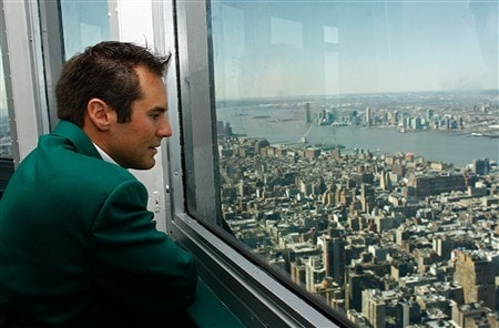 NEW YORK - APRIL 15:  Trevor Immelman, 2008 Masters Champion, visits The Empire State Building April 15, 2008 in New York City.  (Photo by Mike Ehrmann/Getty Images)