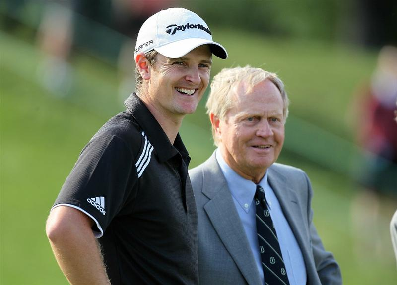 DUBLIN, OH - JUNE 06:  Justin Rose of England is pictured with Jack Nicklaus after winning The Memorial Tournament presented by Morgan Stanley at Muirfield Village Golf Club on June 6, 2010 in Dublin, Ohio.  (Photo by Andy Lyons/Getty Images)
