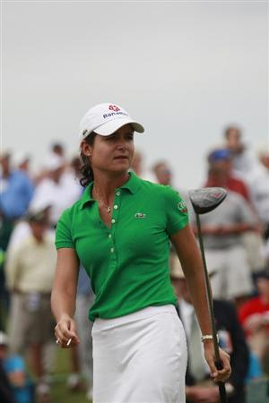 PRATTVILLE, AL - OCTOBER 4:  Lorena Ochoa of Mexico watches her drive from the first tee during final round play in the Navistar LPGA Classic at the Robert Trent Jones Golf Trail at Capitol Hill on October 4, 2009 in  Prattville, Alabama.  (Photo by Dave Martin/Getty Images)