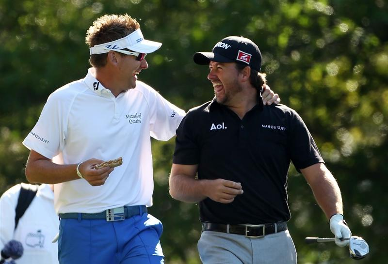 AUGUSTA, GA - APRIL 04:  Ian Poulter (L) of England and Graeme McDowell of Northern Ireland walk off a tee during a practice round prior to the 2011 Masters Tournament at Augusta National Golf Club on April 4, 2011 in Augusta, Georgia.  (Photo by Andrew Redington/Getty Images)