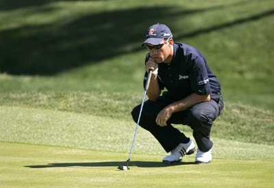 Brian Davis lining up a putt on the second green during the third round of THE PLAYERS Championship held at the TPC Stadium Course in Ponte Vedra Beach, Florida on March 25, 2006.Photo by Chris Condon/PGA TOUR/WireImage.com