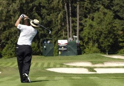 Jay Sigel follows his shot during the final round of the JELD-WEN Tradition at The Reserve Vineyards & Golf Club in Aloha, Oregon on, August 27, 2006.Photo by Steve Levin/WireImage.com