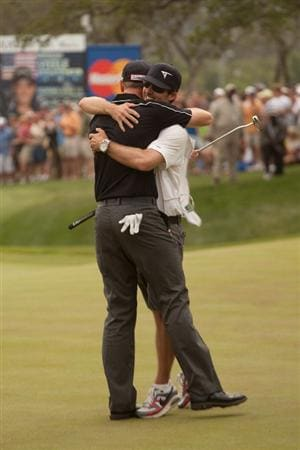 SAN ANTONIO, TX - APRIL 17: Brendan Steele celebrates his victory at the Valero Texas Open with caddie Nick Wilkins on the 18th green of the AT&T Oaks Course at TPC San Antonio on April 17, 2011 in San Antonio, Texas. (Photo by Darren Carroll/Getty Images)