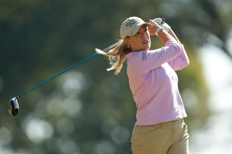 PRATTVILLE, AL - OCTOBER 8: Cristie Kerr follows through on a tee shot during the second round of the Navistar LPGA Classic at the Senator Course at the Robert Trent Jones Golf Trail on October 8, 2010 in Prattville, Alabama. (Photo by Darren Carroll/Getty Images)