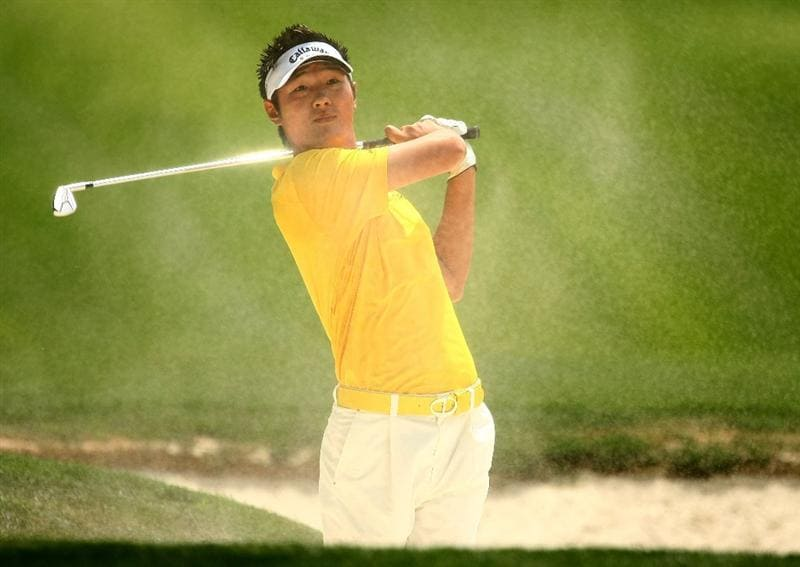 CHARLOTTE, NC - MAY 02:  Danny Lee of New Zealand hits a bunker shot on the fourth hole during the third round of the Quail Hollow Championship at the Quail Hollow Club on May 2, 2009 in Charlotte, North Carolina.  (Photo by Scott Halleran/Getty Images)