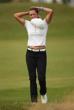 LYTHAM ST ANNES, ENGLAND - AUGUST 01:  Giulia Sergas of Italy walks down the 3rd hole during the third round of the 2009 Ricoh Women's British Open Championship held at Royal Lytham St Annes Golf Club, on August 1, 2009 in Lytham St Annes, England.  (Photo by Warren Little/Getty Images)